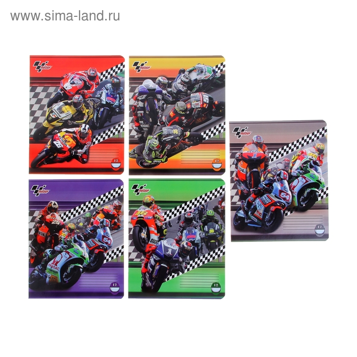 Тетрадь 12 листов линейка Motor GP, обложка мелованный картон, полный УФ-лак, МИКС