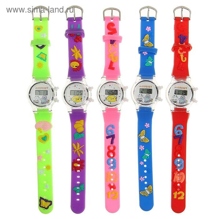 Часы наручные электронные «Зверушки», детские, с силиконовым ремешком, микс