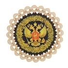 Магнит - тарелочка «Герб России с хохломской росписью», чёрный фон, D=8,5 см