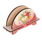 Салфетница «Букет», жостово на розовом фоне, 11х8х3 см