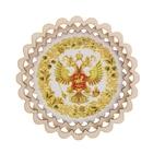 Магнит - тарелочка «Герб России с хохломской росписью», белый фон, D=8,5 см