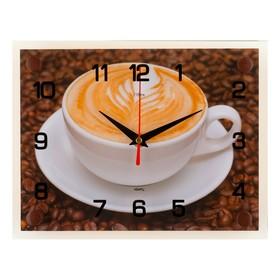 Часы настенные прямоугольные 'Чашка кофе', 20х26 см микс Ош