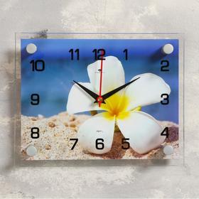 """Часы настенные, серия: Цветы, """"Плюмерия на песке"""", 20х26  см, микс в Донецке"""