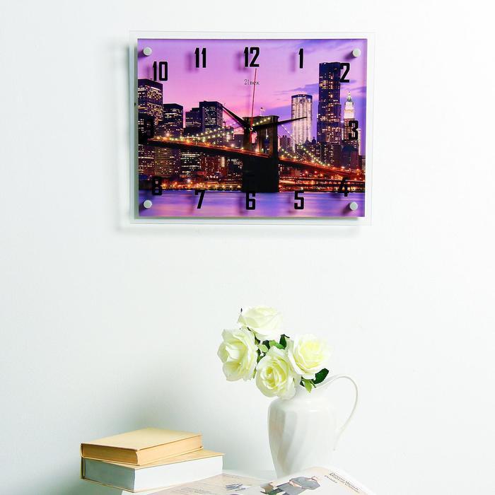 """Часы настенные, серия: Город, """"Ночной город и архитектура"""", 35х45  см, микс - фото 305919753"""