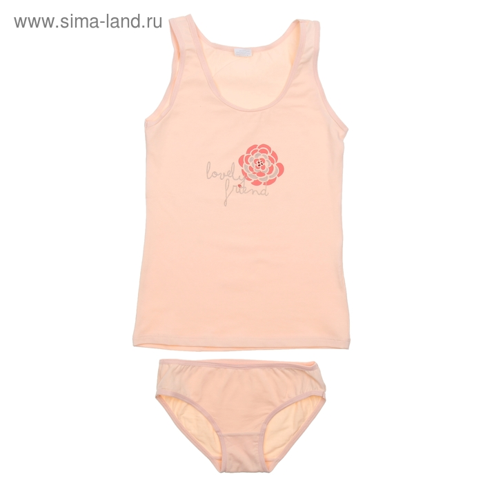 Комплект для девочки (майка+трусы), рост 146 см, цвет светло-персиковый CAJ 3176