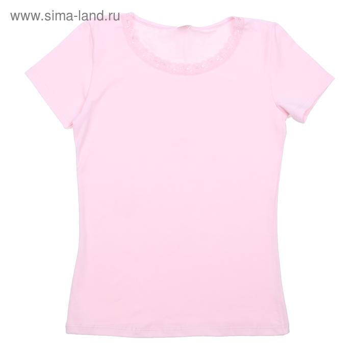 Футболка для девочки, рост 122-128 см (64), цвет светло-розовый (арт. CAJ 2158_Д)