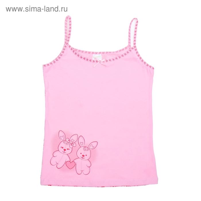 Майка для девочки, рост 140 см (72), цвет светло-розовый/розовый CAJ 2082