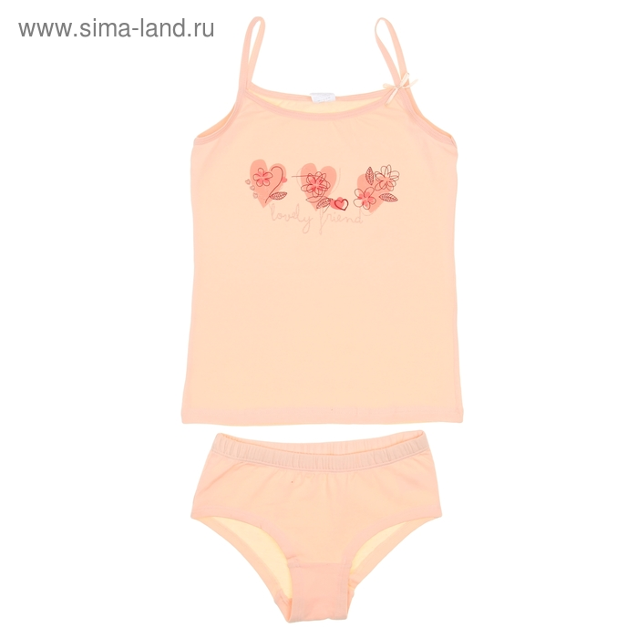 Комплект для девочки (майка+трусы), рост 146 см (76), цвет светло-персиковый CAJ 3175