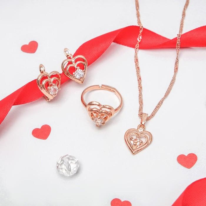 """Гарнитур 3 предмета: серьги, кулон, кольцо безразмерное """"Эдель"""" сердечки, цвет золото, 45см"""