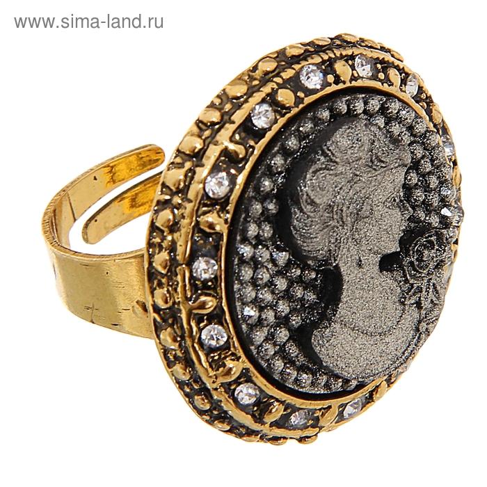 """Кольцо """"Камея"""" круг, цвет чернёное золото, безразмерное"""