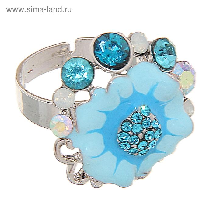 """Кольцо """"Цветочный букет"""", цвет голубой в золоте, безразмерное"""