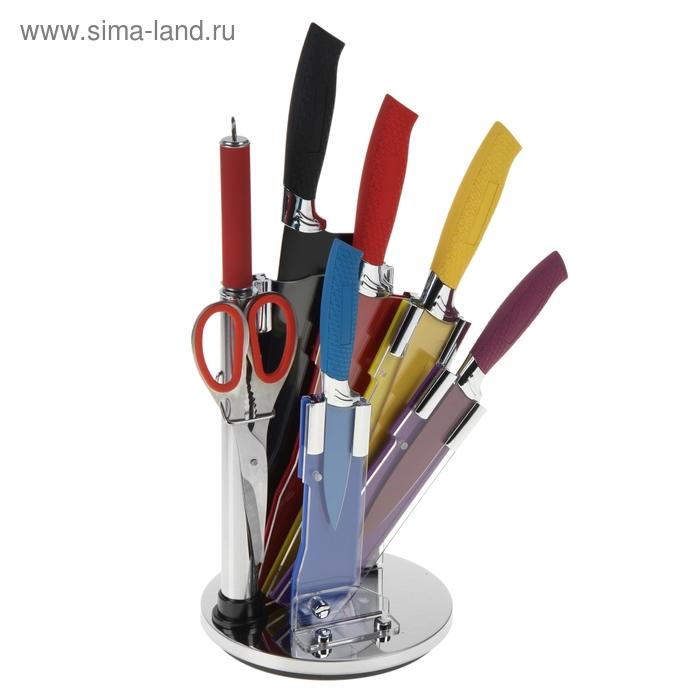 """Набор кухонный """"Фиалка"""", 8 предметов на подставке: 6 ножей (лезвия 20 см, 17 см, 13 см, 9 см), ножеточка"""