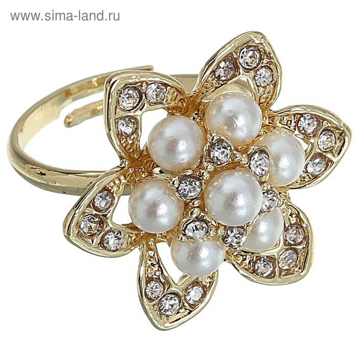 "Кольцо ""Цветок жемчуга"", цвет золото, безразмерное"