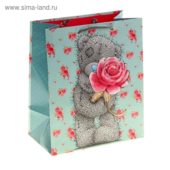 """Пакет подарочный """"Мишка с розой"""", 20.3 х 24 х 10.2 см, Me to you"""