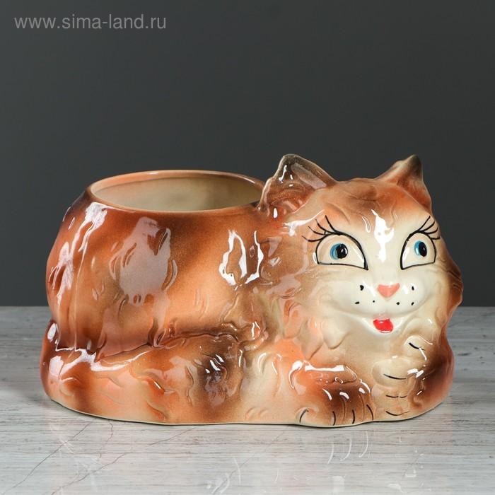 """Фигурное кашпо """"Кот"""" коричневое, 2 л"""