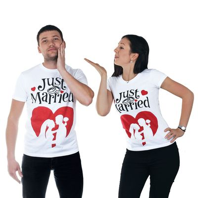 "Футболка мужская ""Collorista"" Just Married р-р. XXL(54-56) 95% хлопок 5% эластан, трикотаж"