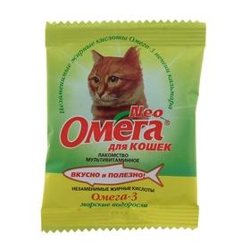 Лакомство Омега Neo для кошек, с морскими водорослями, саше 15 табл.