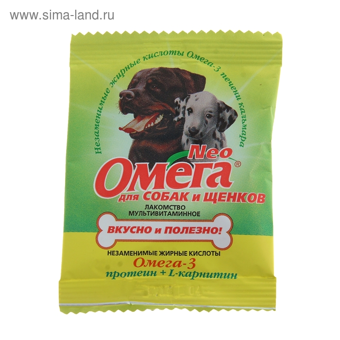 Мультивитаминное лакомство Омега Neo для собак, протеин/L-каринтин, саше 15 табл.