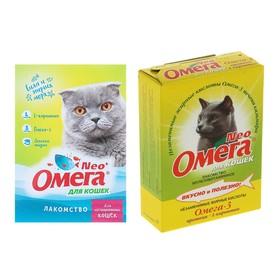 Лакомство Омега Neo для кошек, с протеином и L-карнитином, 90 табл.