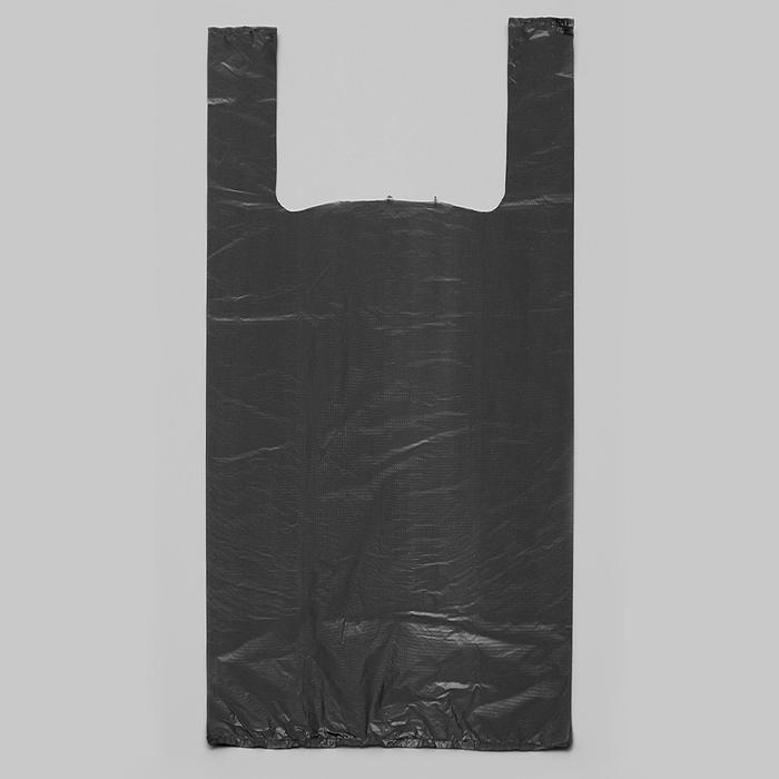 """Пакет """"Чёрный"""", полиэтиленовый, майка, 28 х 50 см, 12 мкм - фото 308983420"""