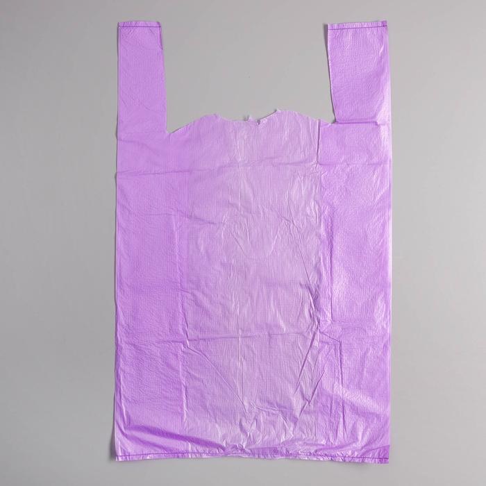 """Пакет """"Фиолетовый"""", полиэтиленовый, майка, 28 х 50 см, 12 мкм"""