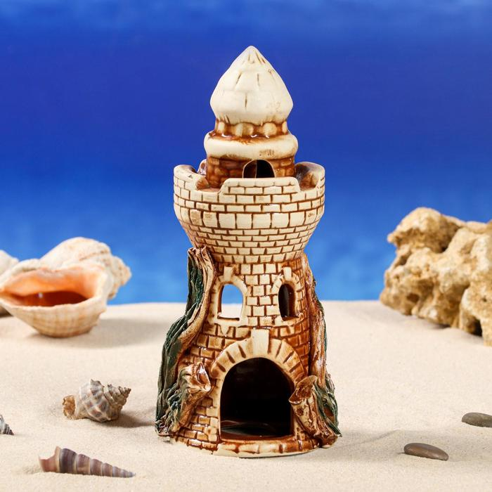 """Декорации для аквариума """"Башня с куполом"""" средняя микс"""