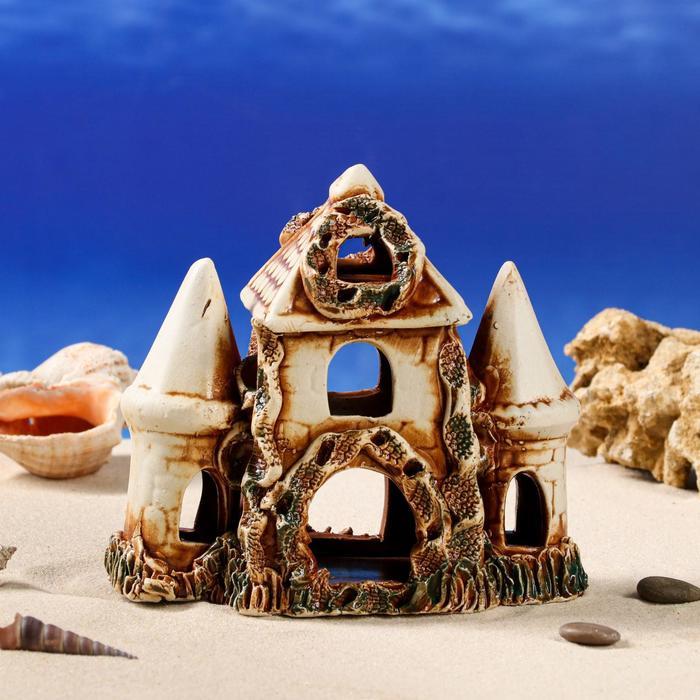 """Декорация для аквариума """"Замок с домиком"""" , 10 х 20 х 18 см, микс"""