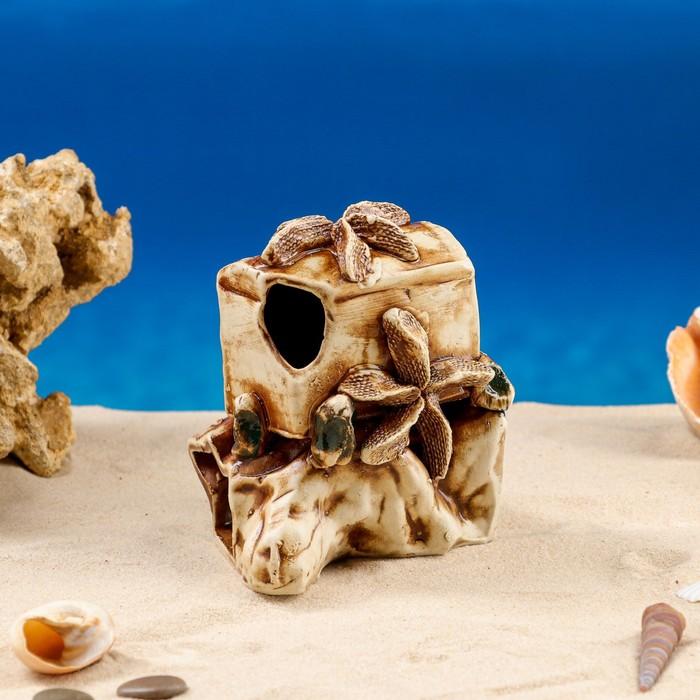 """Декорации для аквариума """"Сундук на скале"""" микс"""