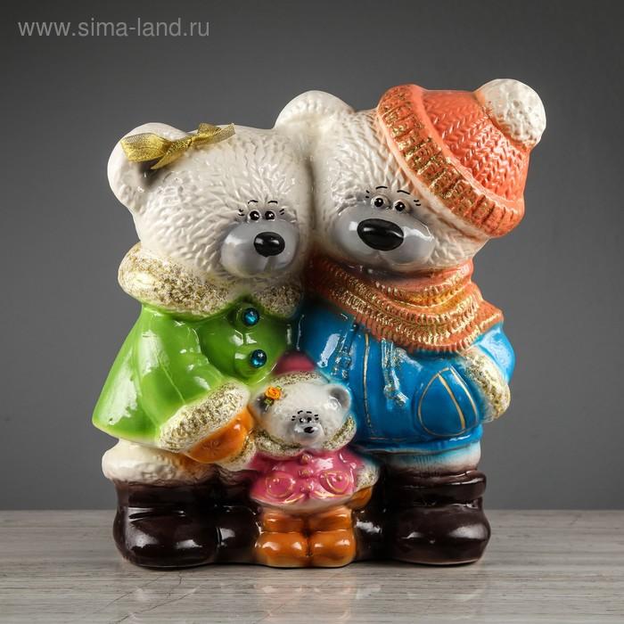 """Копилка """"Мишки: семья"""" глянец, белая"""