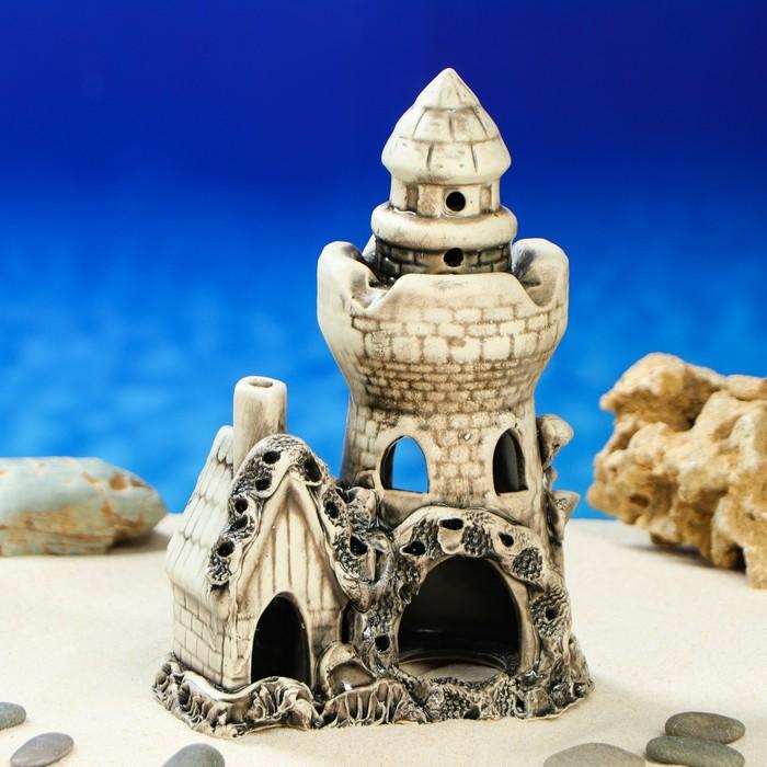 """Декорация для аквариума """"Башня с домиком"""", 9 х 14 х 22 см, микс"""