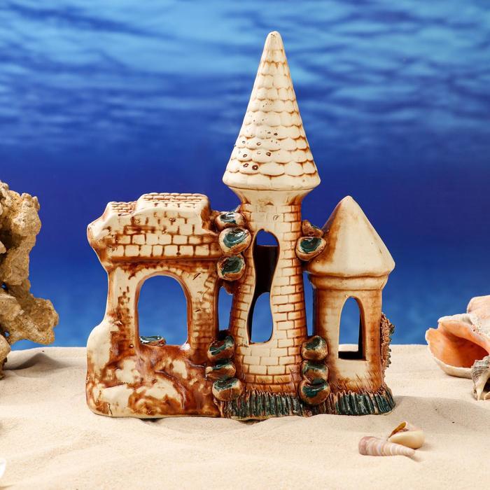 "Декорации для аквариума ""Крепостная стена с двумя башнями"" микс"
