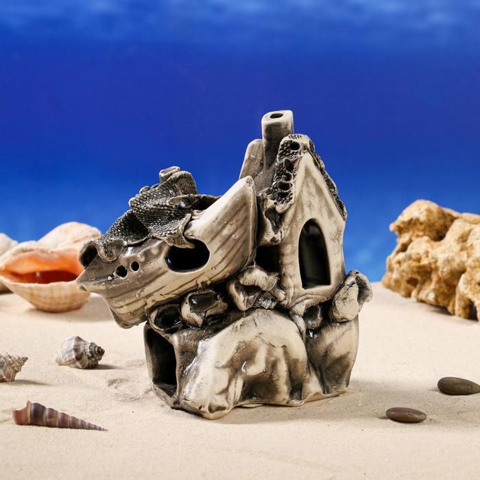 """Декорации для аквариума """"Дом на скале"""""""