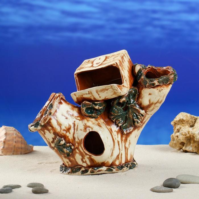 """Декорация для аквариума """"Коряга с сундуком"""", 22 см × 21 см × 19 см"""