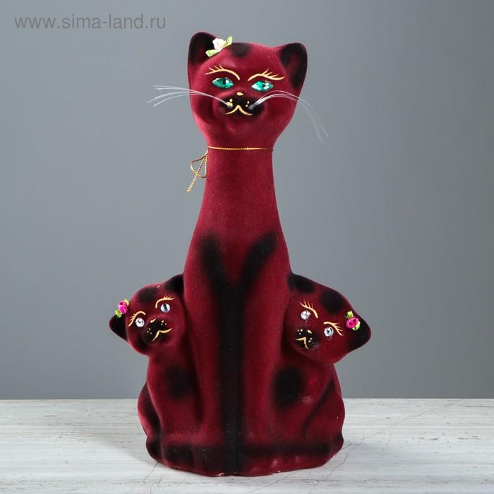 """Копилка """"Кошка с котятами"""" флок, бордовая"""