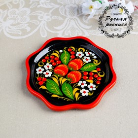 "A plate of ""Baby"", 14×14×0.5 cm Khokhloma"