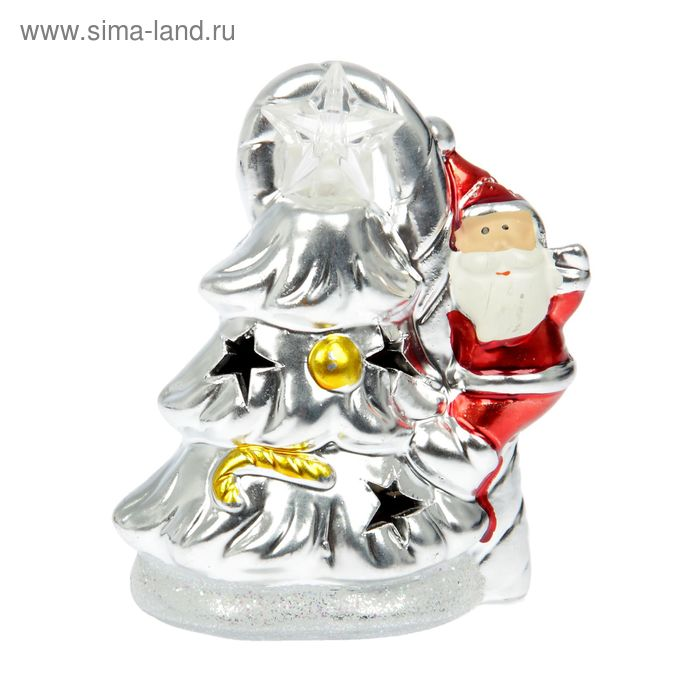 "Сувенир ""Серебристая ёлочка и Дед Мороз"" световой"