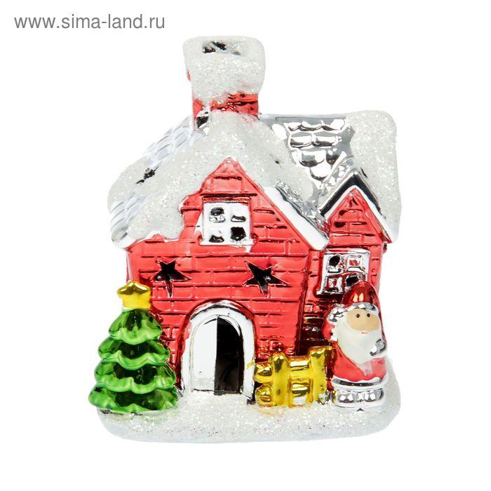 "Сувенир ""Дед Мороз и ёлочка у домика"" световой"