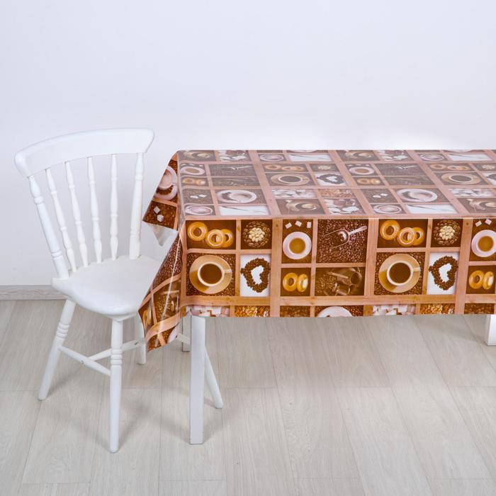 """Клеенка столовая на ткани """"Кофе"""", 1,25 × 25 м, толщина 1 мм"""