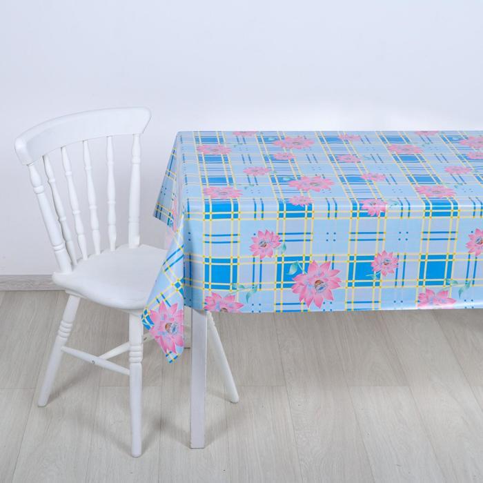 "Клеенка столовая на ткани ""Пион на голубом"", 1,25 × 25 м"
