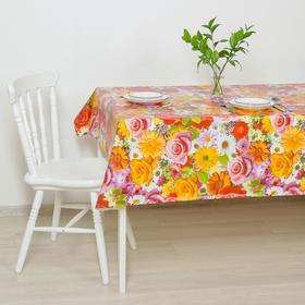 Клеёнка столовая на тканой основе «Розы-ромашки», 1,25×25 м