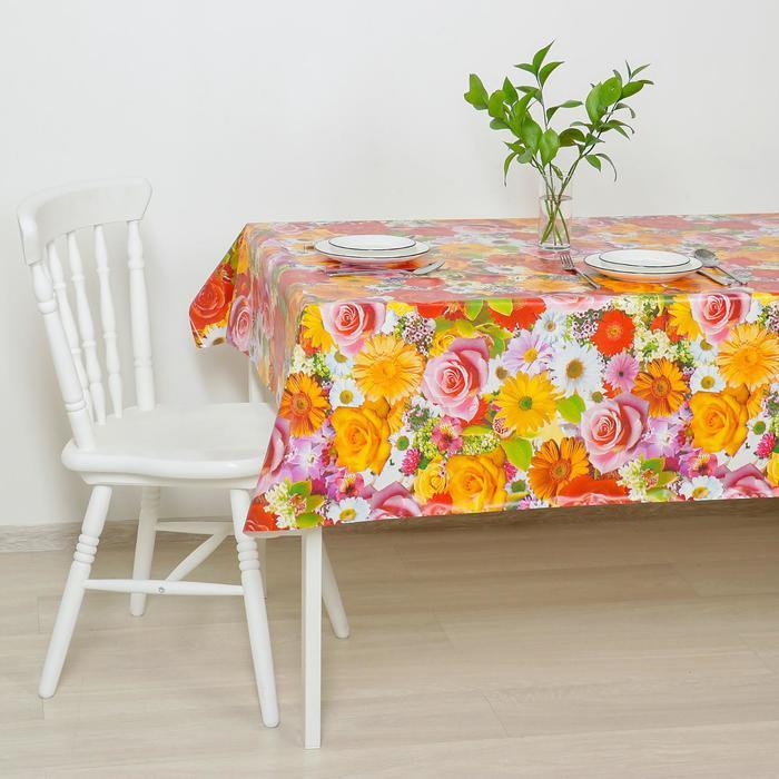 """Клеенка столовая на ткани """"Розы-ромашки"""", 125 × 25 м, толщина 1 мм"""