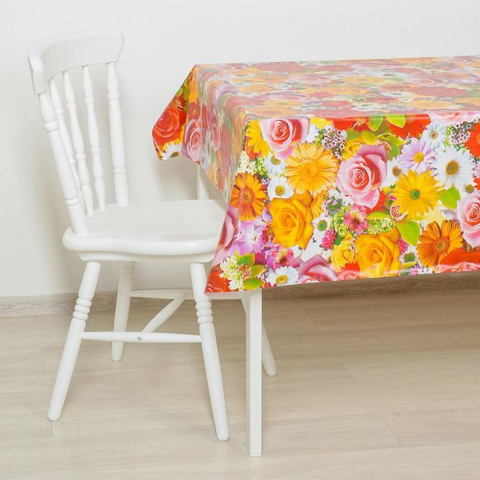 """Клеенка столовая на ткани """"Розы-ромашки"""", 125 × 25 м, толщина 1 мм - фото 441080433"""