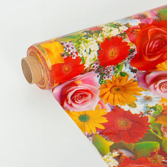 """Клеенка столовая на ткани """"Розы-ромашки"""", 125 × 25 м, толщина 1 мм - фото 441080432"""
