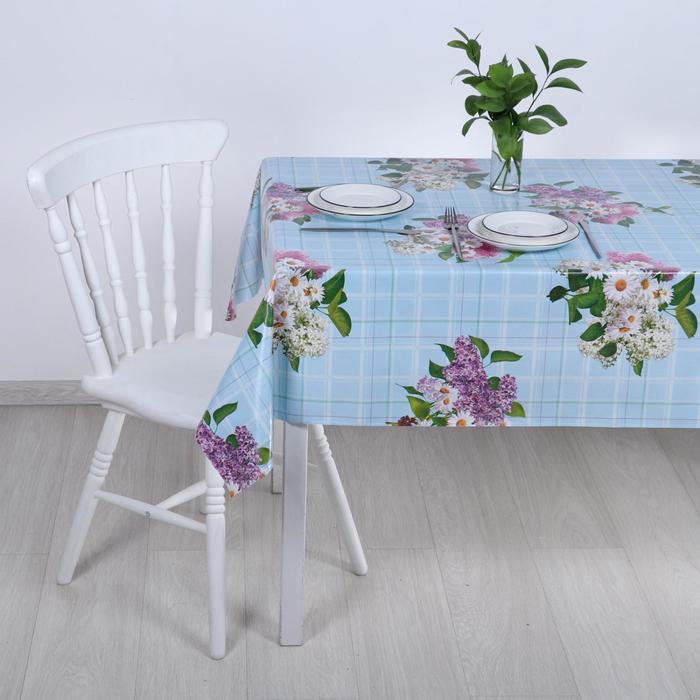 Клеёнка столовая на тканой основе «Ромашки и сирень», 1,25×20 м - фото 439032