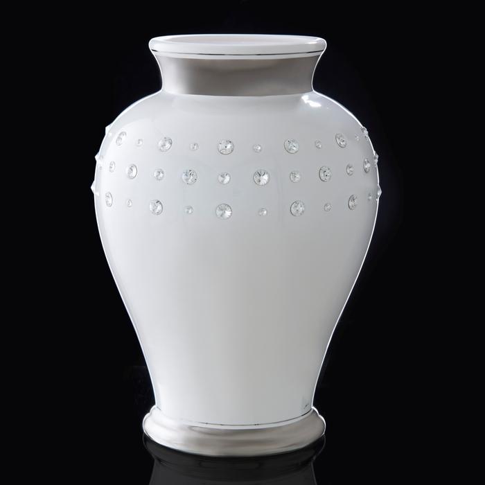 """Ваза """"Изар"""" белая со стразами Swarowski - фото 1544528"""