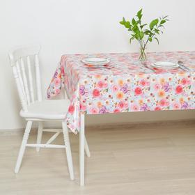 Клеёнка столовая на тканой основе «Цветочная поляна», 1,25×20 м