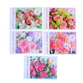 Альбом для рисования А4, 16 листов на скрепке «Нежные цветы» обложка картон 185 г/м2, блок офсет 100 г/м2, 5 видов, МИКС Ош