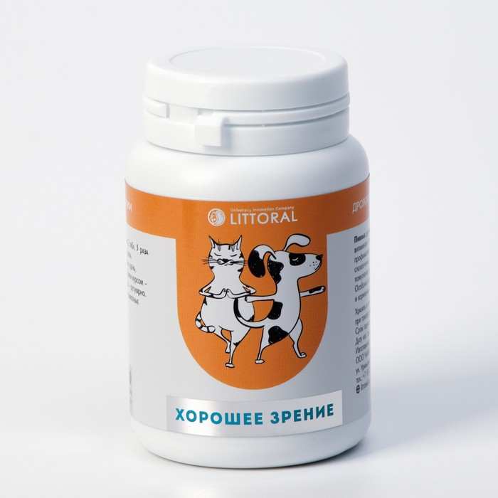"""Пивные дрожжи """"Хорошее зрение"""" для кошек и собак, с бета-каротином, 80 таб"""