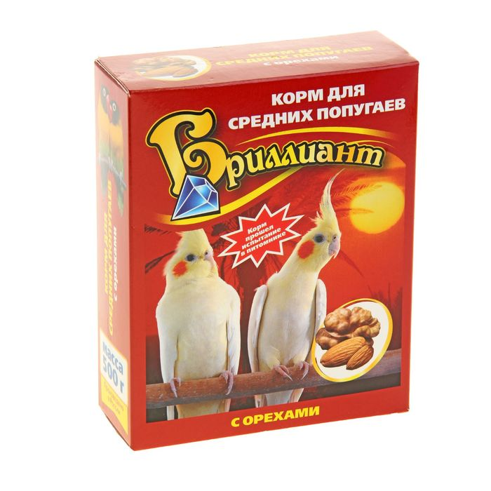 """Корм """"Бриллиант Люкс"""" для средних попугаев, с орехами, 500 г"""