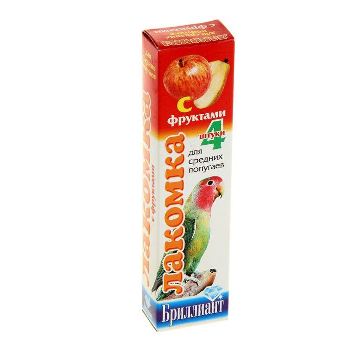 """Лакомка """"Бриллиант"""" для средних попугаев, фрукты, 4 шт, 80 г"""